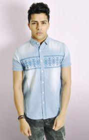Embroidered Aztec Print Short Sleeve Shirt